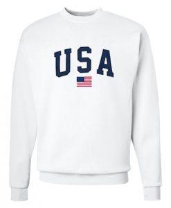 USA Flag Sweatshirt White